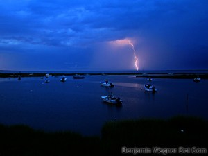 Lightening over Nantucket's Madaket Bay